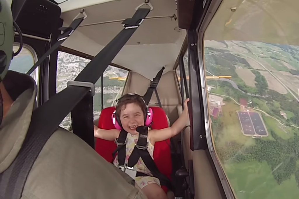 Little Girl's First Aerobatic Flight