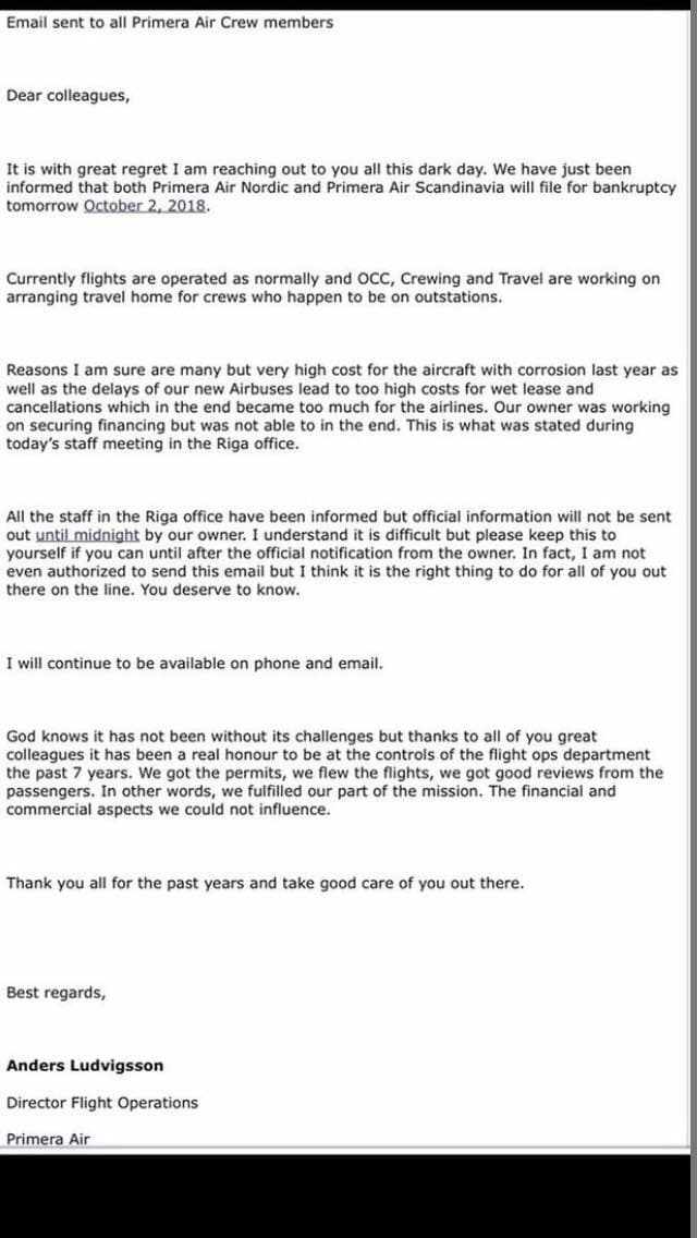 The Leaked Letter Of Primera Air