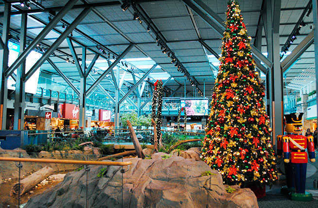 Vancouver airport on Christmas