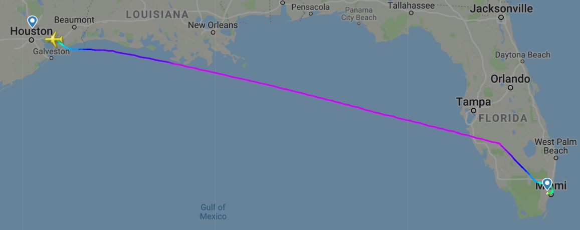 Flight path of the Atlas Air Boeing 767