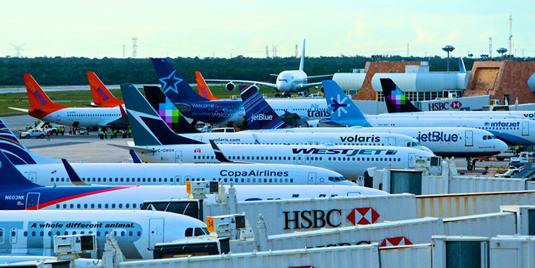 Multiple Airlines at An Airport