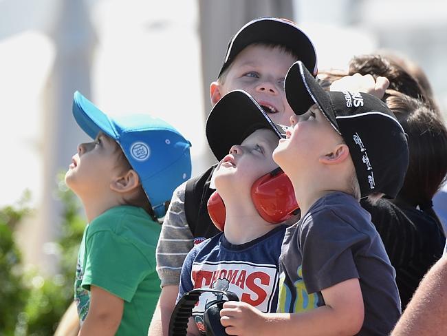Kids watch the planes at the Australian International Airshow