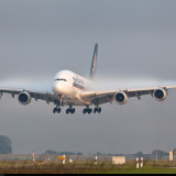 Airbus A380 Crosswind Landing During Bad Weather