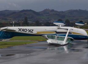High winds in New Zealand have flipped a plane