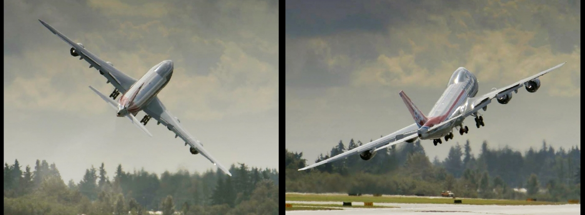 Crazy B747 Wings Swing-bye During Take-off