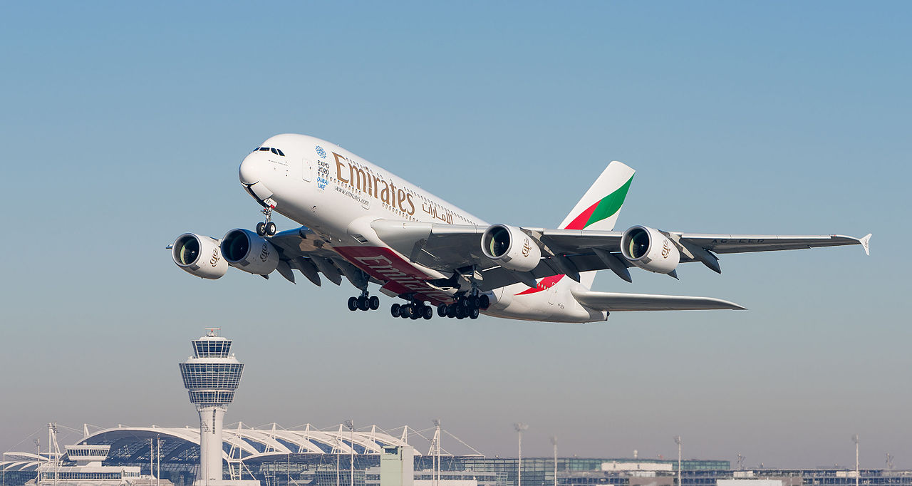 Formation Flight of Jetman Dubai & Emirates A380
