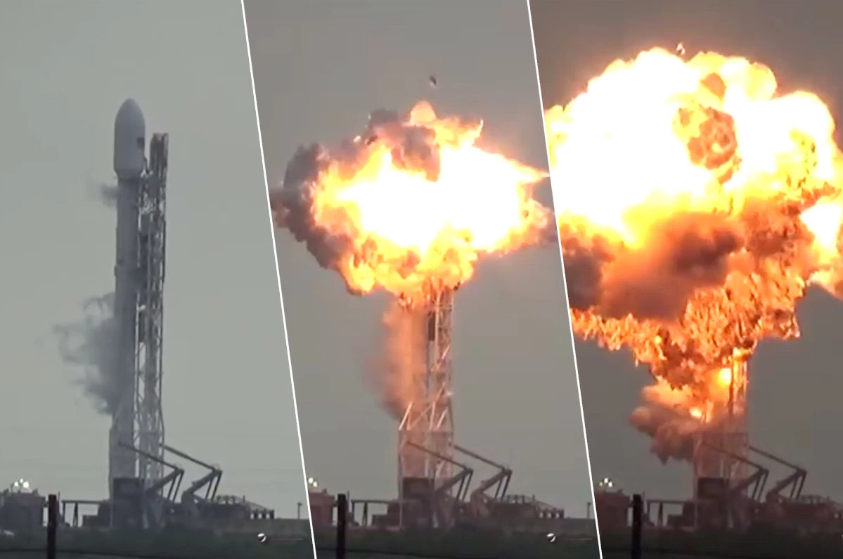 spacex rocket explodes in a massive fireball