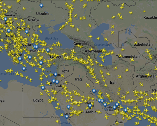 Commercial Aircraft Flying Over War Zone: Syria