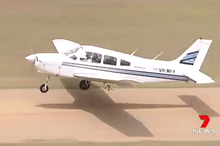 Pilot touches down in Brisbane with missing wheel