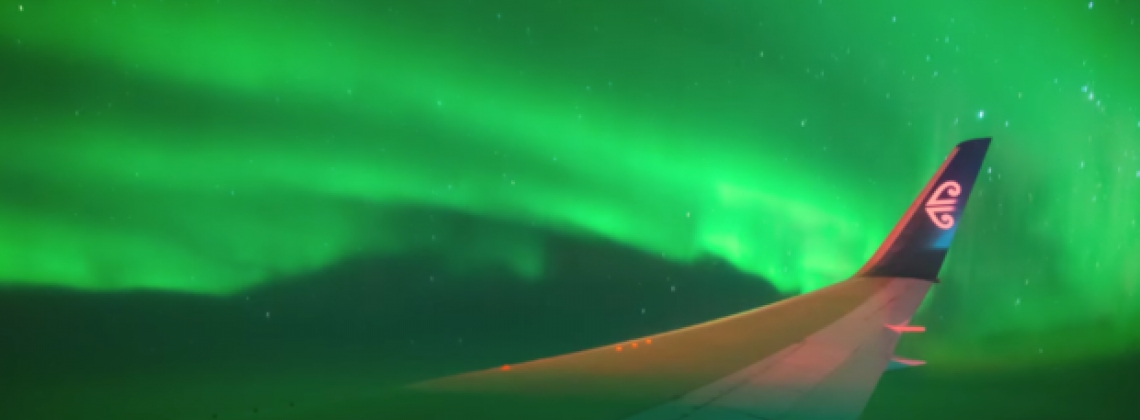 Airline Carries Passengers into Southern Lights