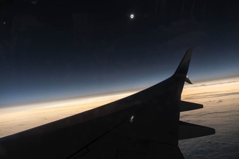Total Solar Eclipse From 40000 Feet Above America