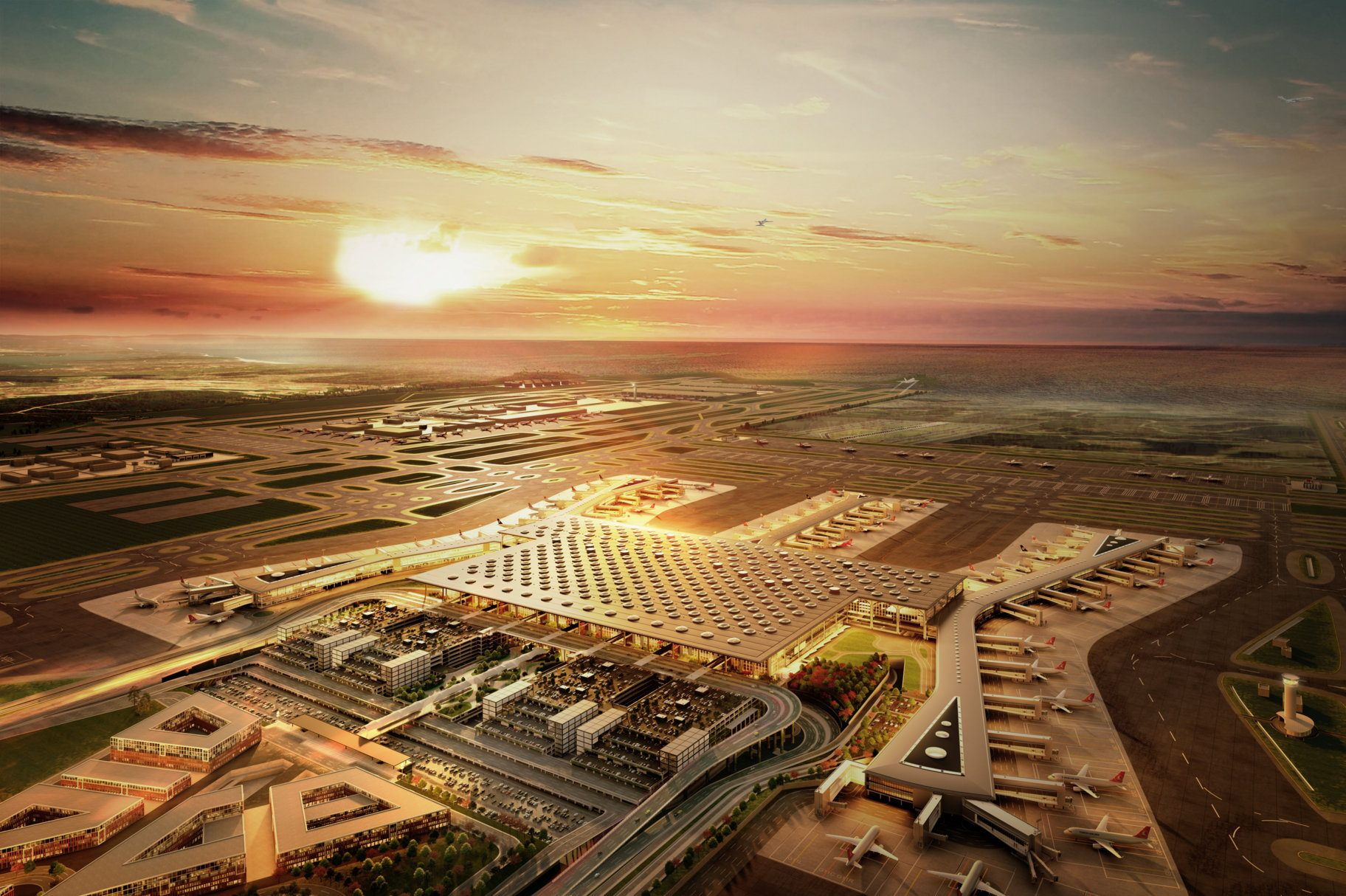Future of airports. Istanbul's huge new airport is scheduled to open in October. Image: IGA