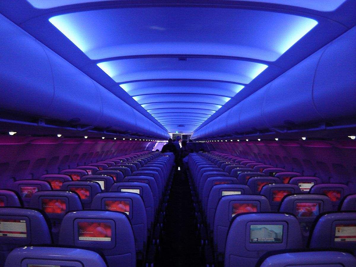 New Airbus design of Airspace cabin A320 neo entrance. Photo credits: Airbus