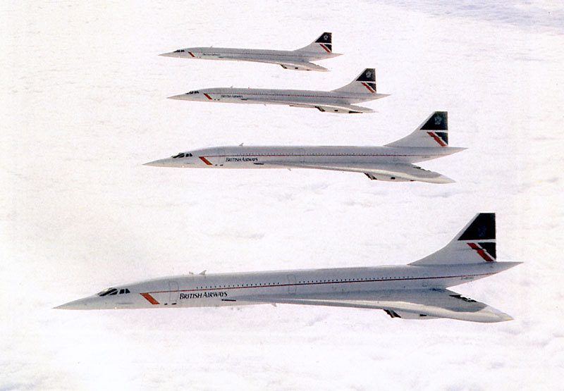 4 Concorde flying over the Atlantic to celebrate its 10th operational anniversary