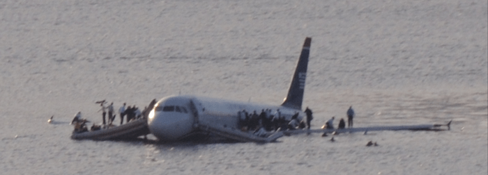 Airbus A320 of the US Airways Flight 1549 in the Hudson river