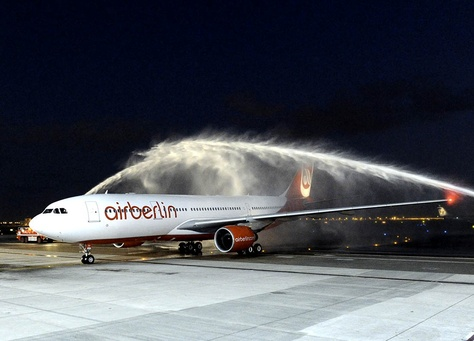 Air Berlin aircraft in the airport.