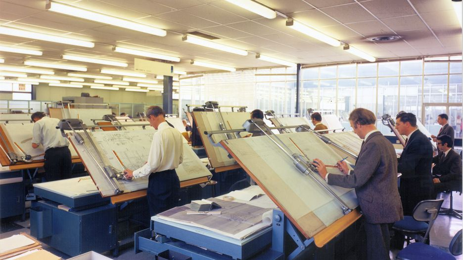 Engineers working on the Concorde designs.