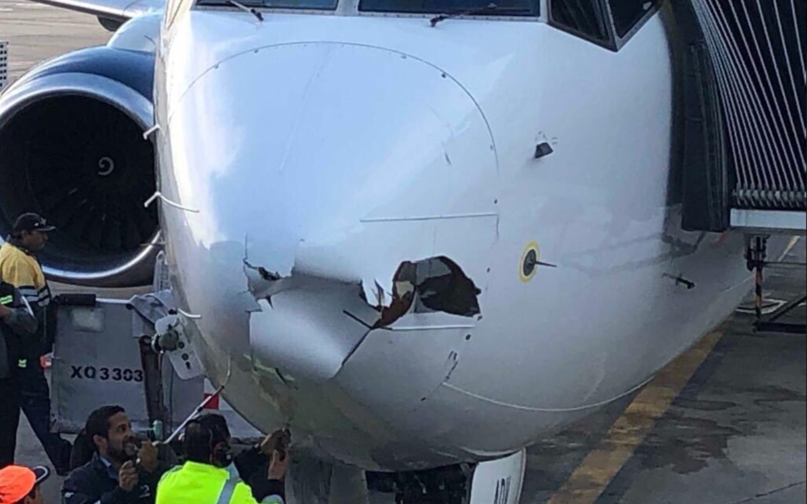 Boeing 737 hit by a drone