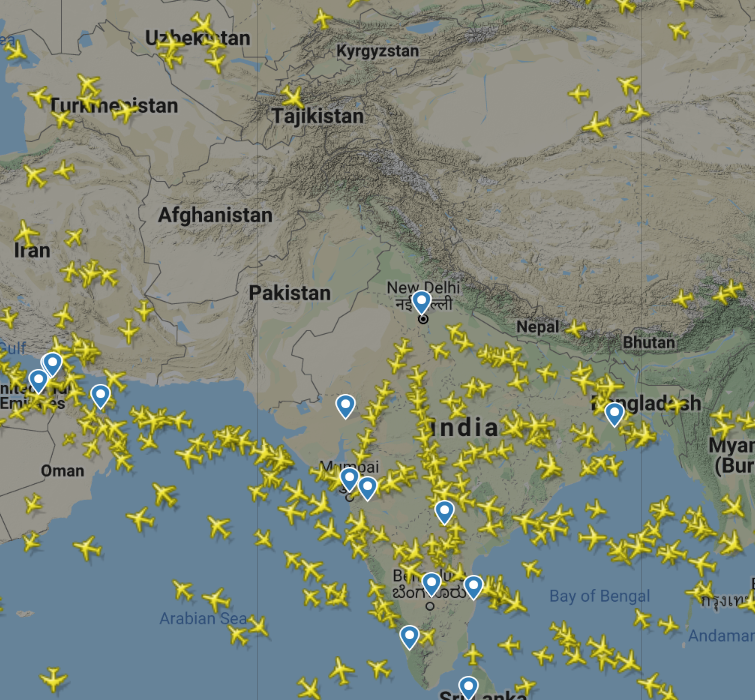 Airspace over Pakistan as of February 27th, 2019