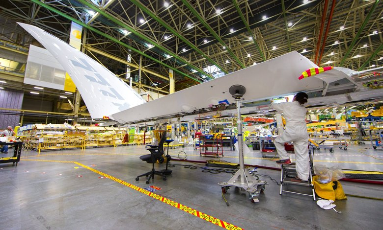 Folding wingtips of the Boeing 777X