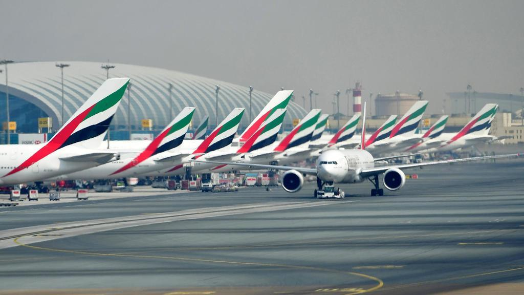 Emirates aircraft at Dubai International Airport