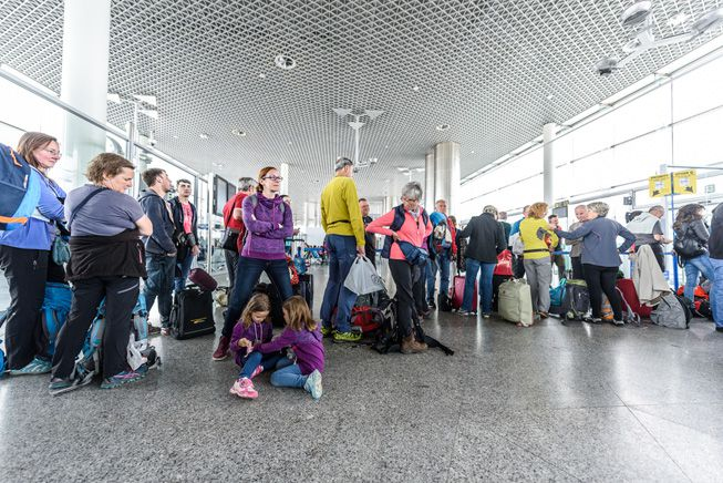 Passengers waiting for a flight