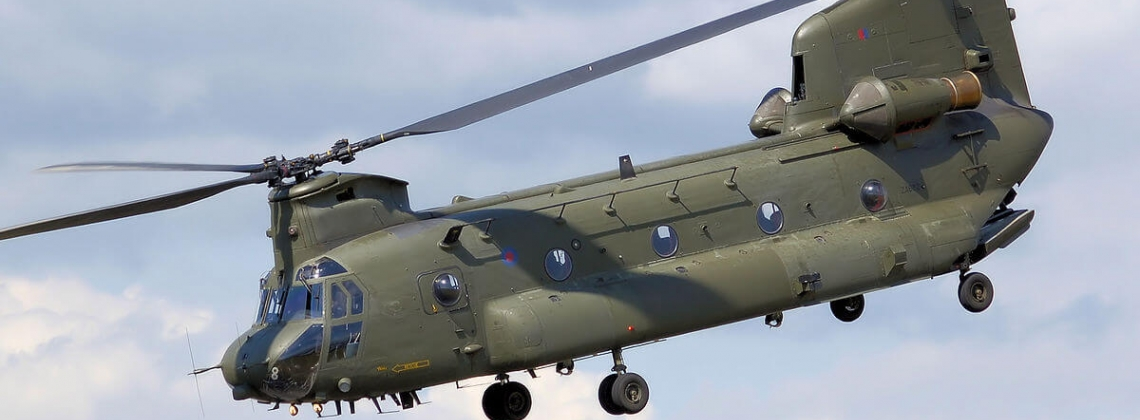 RAF deploys Chinook helicopter to prevent dam from collapsing