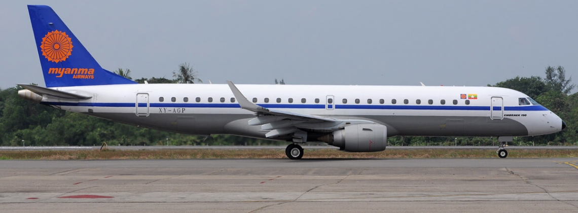 Myanmar Airlines Embraer-190 lands without front gear