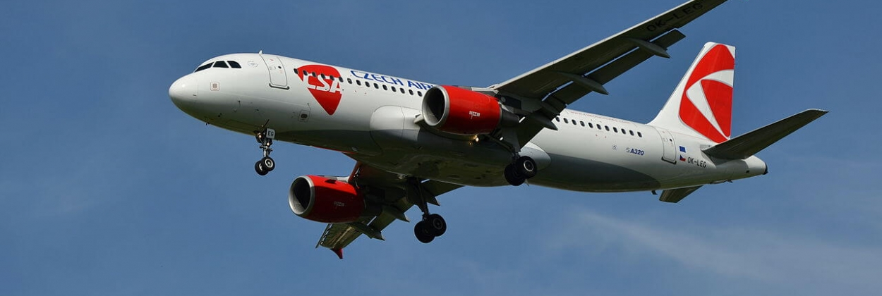 Airbus A320 of Czech Airlines lands at Václav Havel Airport Pragu