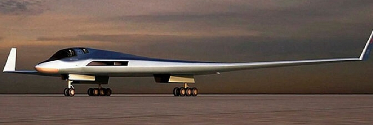 Computer render of the future Tupolev strategic bomber, PAK-DA