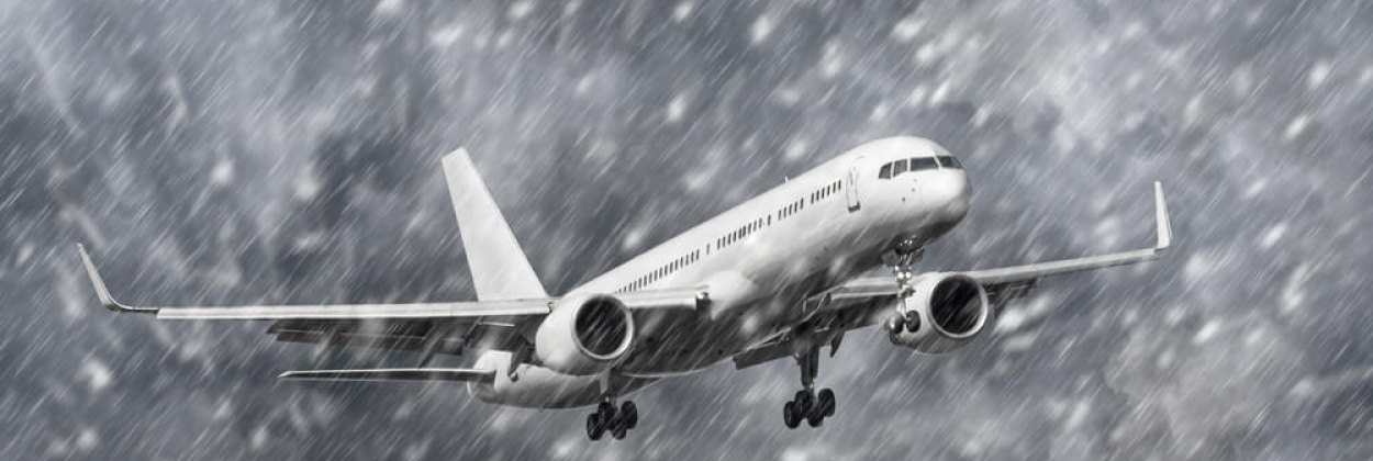 A fictional Boeing 757 landing in stormy weather
