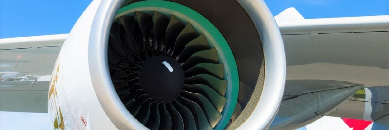 A turbofan engine Rolls-Royce Trent 900 the largest aircraft in