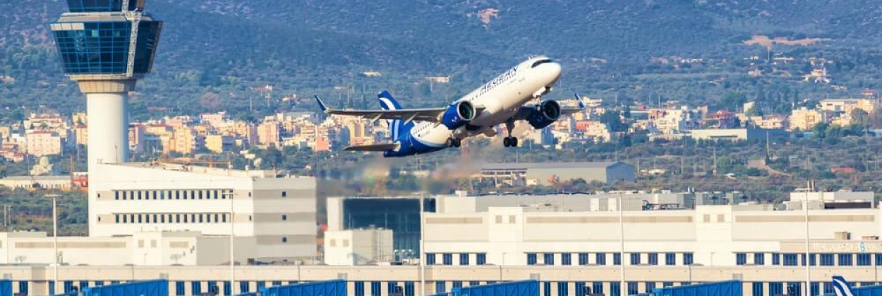 Aegean Airlines Airbus A320neo airplane at Athens Airport in Gree