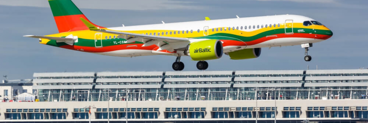 airBaltic Airbus A220 with the special Lithuania flag livery in Stuttgart Airport (STR)
