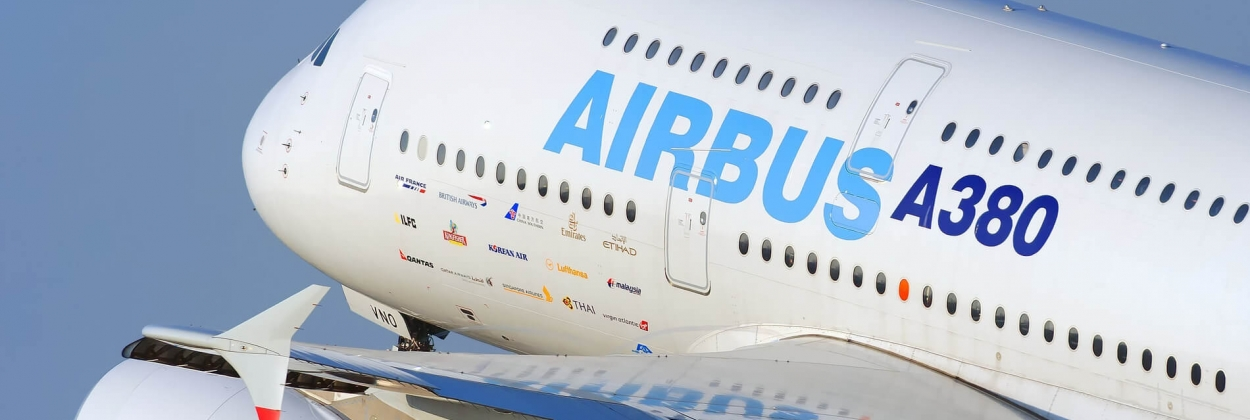 Airbus A380 departing in the Airbus demonstrator livery
