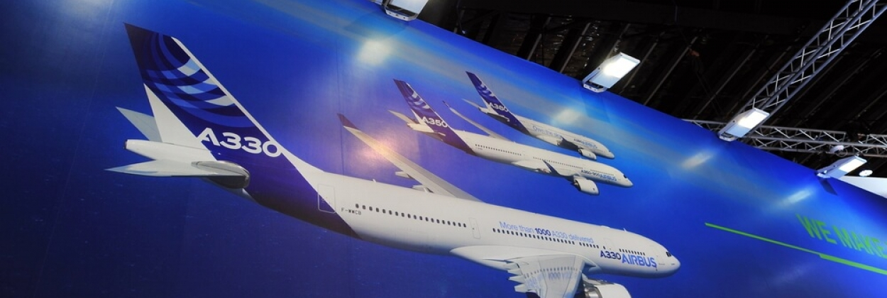 Airbus aircraft family poster at Singapore Airshow 2014