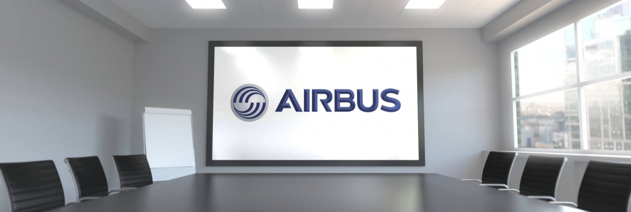Airbus corporate logo in an office