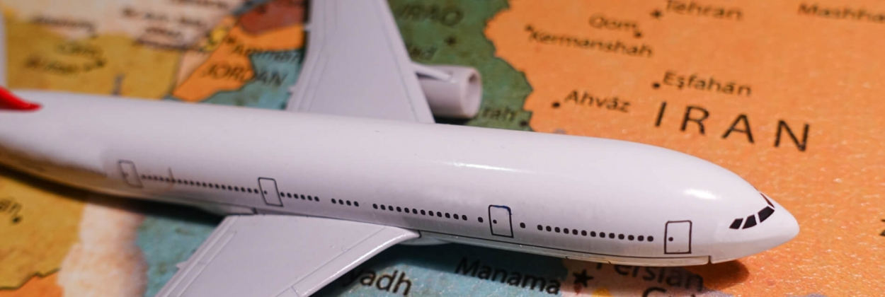 Aircraft model placed on a map of the Middle East