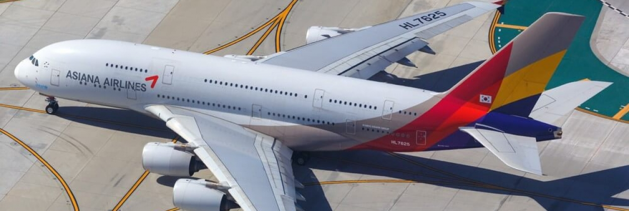 Asiana Airlines Airbus A380 at Los Angeles airport (LAX) in the U