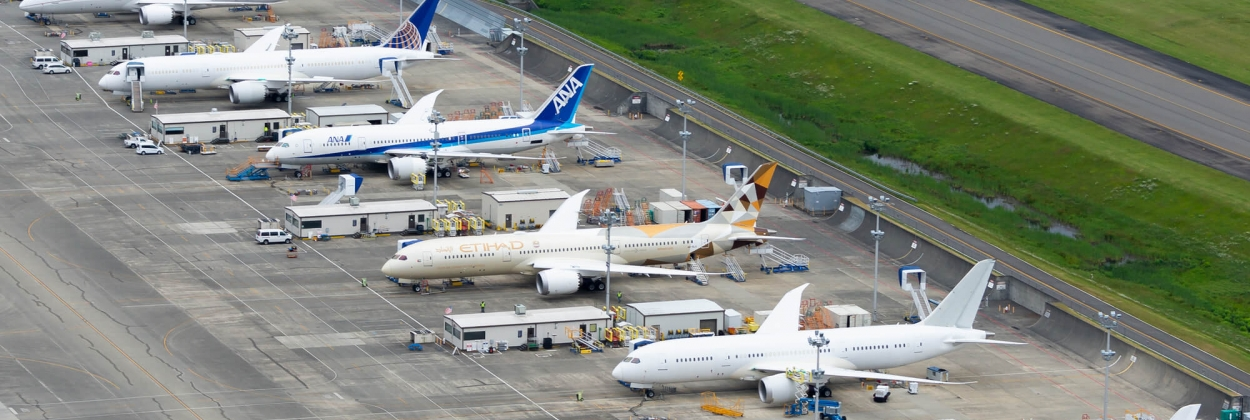 Boeing 787 Dreamliner aircraft awaiting delivery