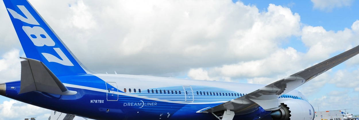 Boeing 787 parked at the Singapore Air Show