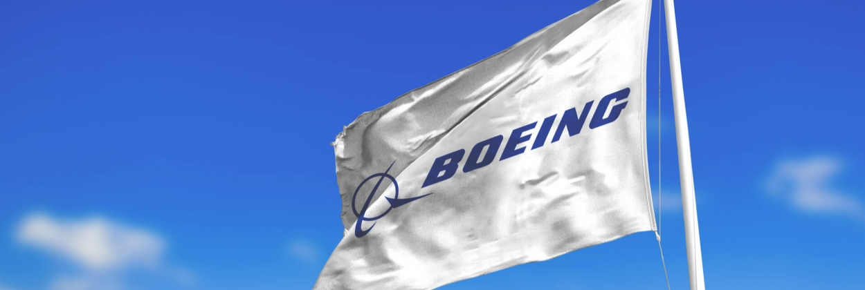 Boeing logo on a flag