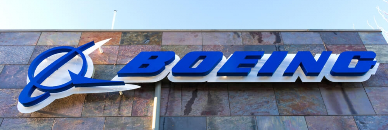 Boeing logo on the Boeing HorizonX office building