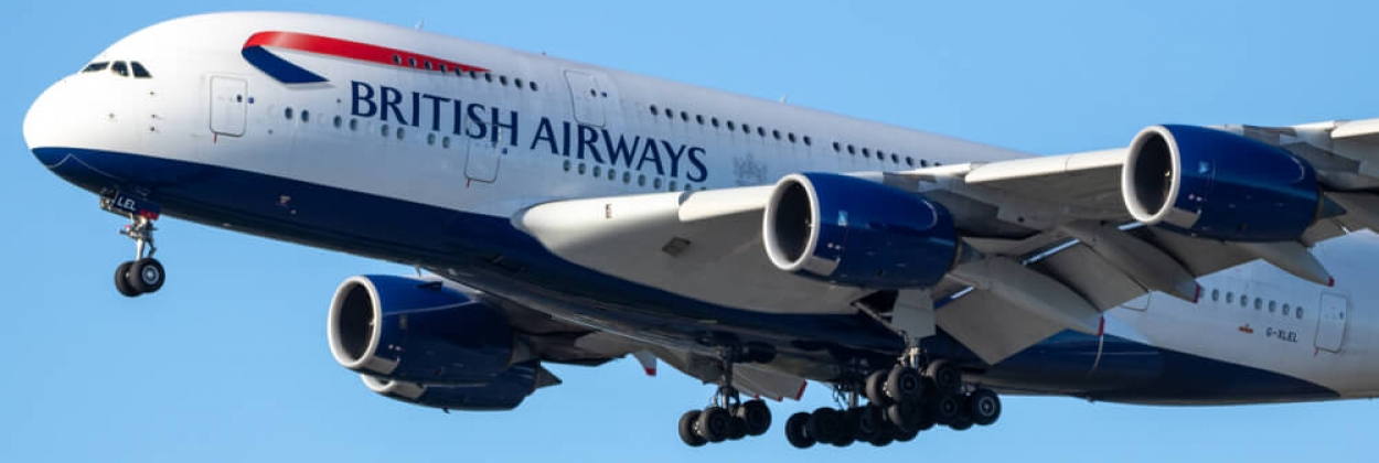 British Airways Airbus A380 landing at Vancouver International Ai