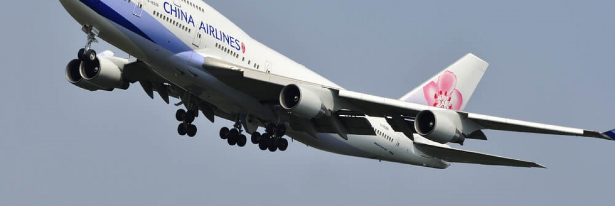 China Airlines Boeing 747 departing Frankfurt Airport FRA