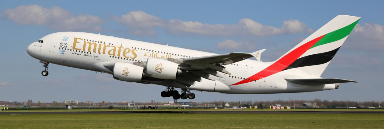 Emirates Airbus A380 departing Amsterdam Schiphol Airport AMS