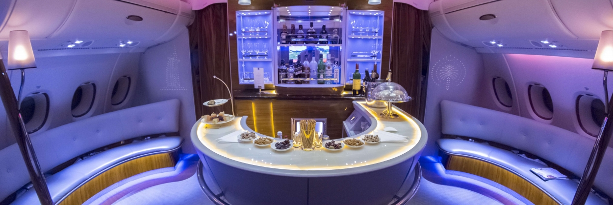 Emirates Airbus A380 interior - Business Class Bar