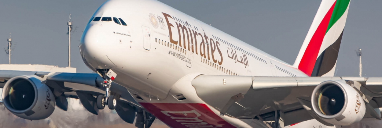 Emirates Airbus A380 landing at Munich Airport MUC