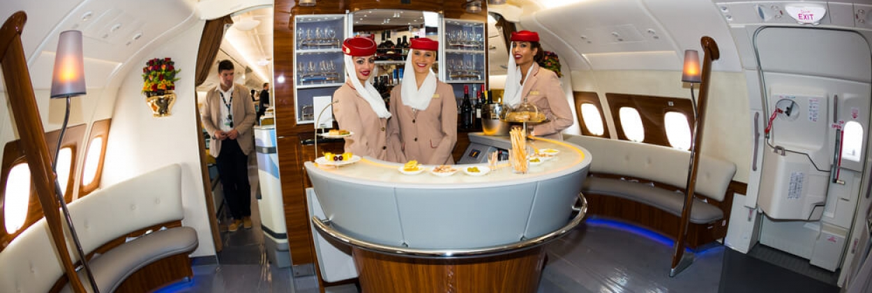 Emirates Airbus A380 onboard lounge