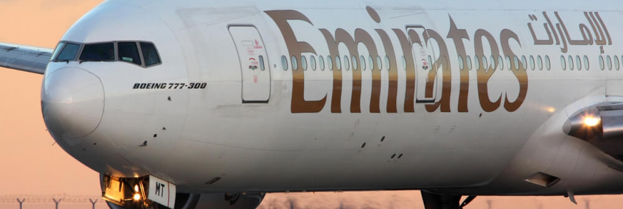 Emirates Boeing 777-300 taxiing at Prague, Czechia